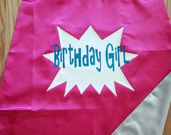 Birthday Girl Superhero Cape Reversible and Quick to Ship!