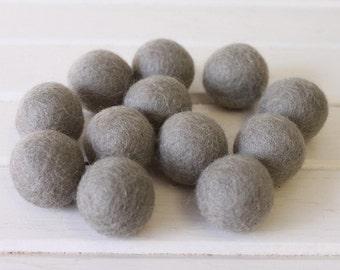 Grey Felt Balls 12 count