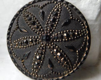 Spectacular X-Large Antique black Lacy glass button | Gorgeous detail and copper luster | Floral 1-3/16"