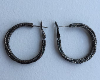 Vintage 80's Multi-Hoop Earrings • Textured Dark Metal Creates Great Sparkle • Unique Earrings!
