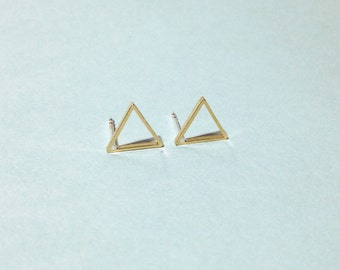 Empty triangles studs - Small gold brass empty triangles studs earrings with sterling silver posts