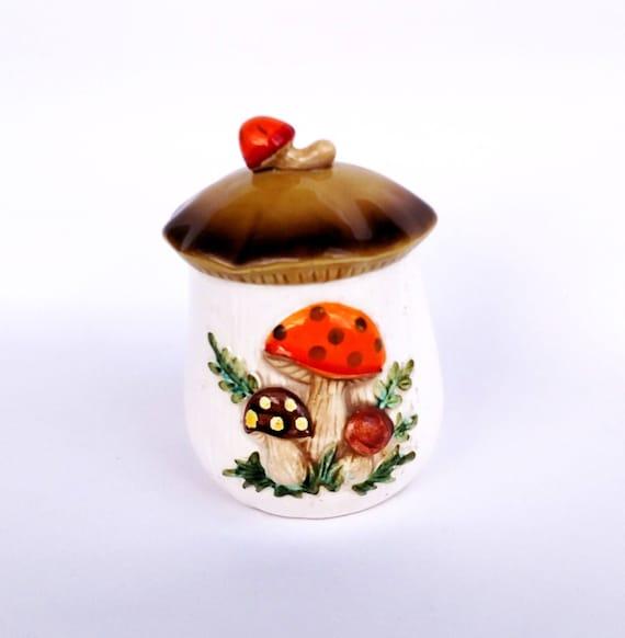 Vintage 1978 Merry Mushroom Ceramic Jar by Sears and Roebuck