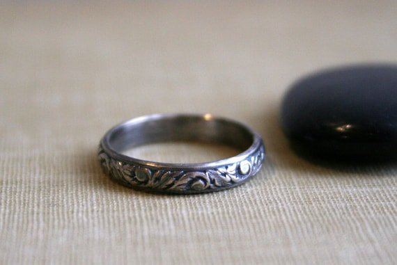 Rustic Vine & Leaf Sterling Silver Stacking Ring