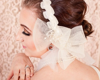 Ivory Pearl and Aurora Borealis Beaded Bridal Headpiece Headband