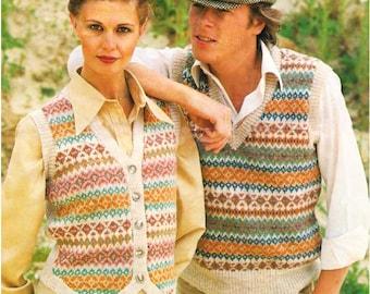 Waistcoat /Beautiful Fair Isle-style/ Traditional Slipover/ Fashion Waistcoat/ Instant PDF Download Vintage Knitting Pattern – 207