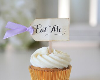 Eat Me Cupcake toppers, Alice in Wonderland, Wedding, Birthday, Baby Shower