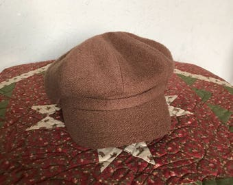 Winter Hat Cool Weather Wool Talbots Vintage Brim Button Professor Cap Woolen Polyester Cotton lcww
