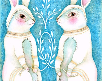 "MarmeeCraft Rabbit art print-""Folk Hare"""