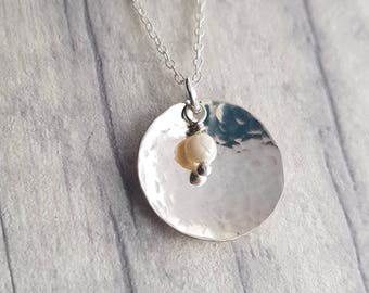 Silver | necklace | pearl | pendant | Handmade | disk | hammered | gift | for her