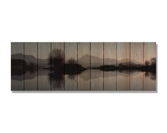 Mountain Lake Reflection on Cedar Wood, Can Hang Inside and Outside, Wall Decor, Home Decor (SL3211/6020)