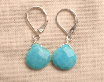 Blue Turquoise Earrings, Blue Turquoise Silver Leverback Earrings, Faceted Blue Turquoise Earrings, December Birthstone