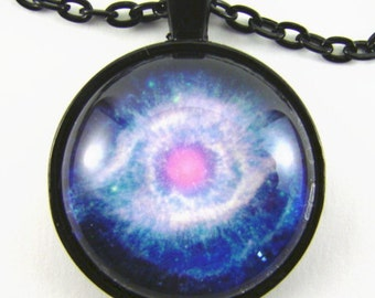 HELIX NEBULA Necklace -- Cosmic eye, Stars in Aquarius, Space science art,  Blue pink white star stuff, Gift for him or her