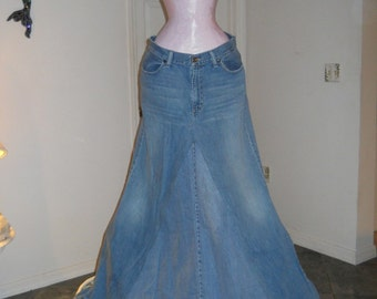 Belle Bohémienne bohemian ballroom jean skirt  Renaissance Denim Couture fairy goddess mermaid  Made to Order