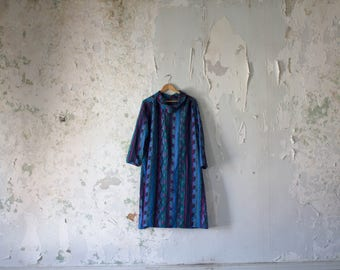 Vintage Tent Dress - 80s 1980s Oversized Dress - Blue Striped Tribal Smock Dress