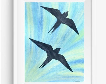 Swallows Flying Picture, Swallows Artwork, Birds Flying, Original Artwork, Mixed Media, Wall Decor Gift, Bird Picture, Pastel Painting