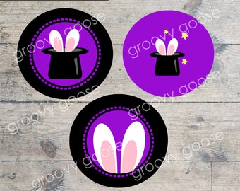 MAGIC SHOW cupcake toppers PRINTABLE cupcake toppers  Envelope Seals  Stickers