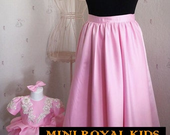 MOMY & I COLLECTION : Mother and daughter Pink Skirt and dress Set