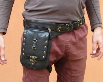 Black Leather Holster Thigh Bag Motorbike Festival Travel Steampunk *FREE SHIPPING* HB37a
