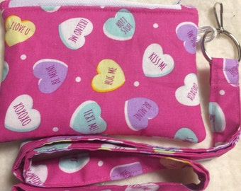 Valentine's Day Holiday Heart Coin Purse and Lanyard ID Holder