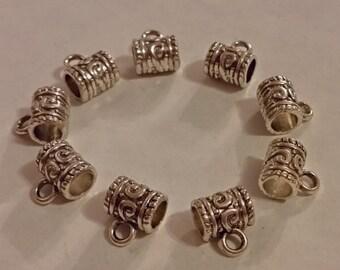Silver Barrel Bails - 15 pcs - Tibetan Silver - Silver Bails - Lead Free - Cadmium Free