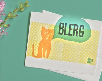 Blerg Letterpress Card with Cat and Flower Linoleum Block Printing
