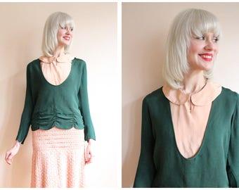 1920s Blouse // Emerald Silk Blouse // vintage 20s Blouse