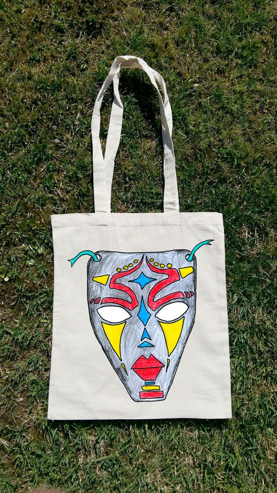 3d4f274b3f African Tote Bag African Mask African Mask Art African Bag
