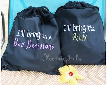 Custom Cinch Sack Drawstring Bag With Mesh Back, Beach Bag, Bachelorette Bag, Bachelor Bag