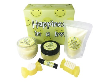 Happiness in a box - Summer Gift Set - Bath Salts - Body Scrub - Handmade Soap - Candle - Lip Balm