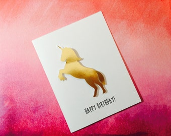 Unicorn Birthday Card for the most magical person I know, snarky, humorous, funny metallic Birthday card,