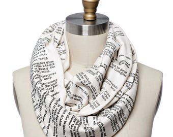 Les Miserables Book Scarf - Infinity Scarf, Literary Scarf, Victor Hugo , Book Lover, Books, Reading, Teacher Gift