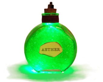 Steampunk light up bottles- AETHER