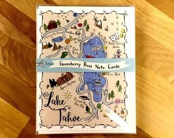 Lake Tahoe Map Boxed Card Set