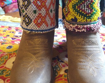 Amazing afghan topped cowboy boots ibiza festival; bohemian hippie 38 / size 5 boots