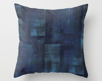 Throw Pillow Cover Navy Pillow Cover Abstract Art Accent Pillow Cover Cushion Cover Couch Pillow Cover Navy Aqua Pillow Cover Home Decor