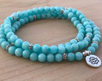Amazonite Mala, 108 Wrap Bracelet, Wrist Mala Bracelet, Yoga Mala, Boho Mala, Spiritual Bracelet, Prayer Mala, Healing Bracelet