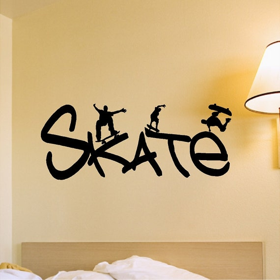 Skateboard Wall Decal Removable Skateboarder Wall Sticker