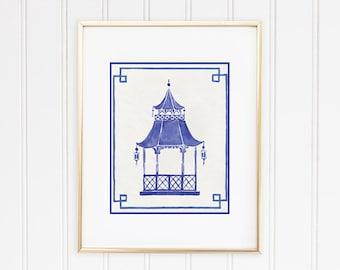 Blue Pagoda Print, Chinoiserie Wall Art, Hollywood Regency Wall Decor, Pagoda Painting, Pagoda Wall Art,  Chinese Pagoda,  Eastern Art