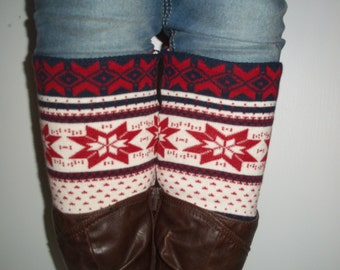Leg warmers, boot cuffs, Nordic winter accessories red white off blue A1