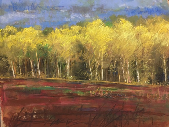 Spring Trees , 11x14 , pastel painting, partial LIVE DEMO