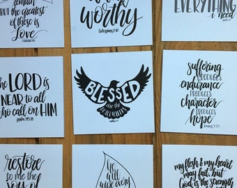 Mini-print set of 18 black & white scripture cards, hand lettered Bible verse cards