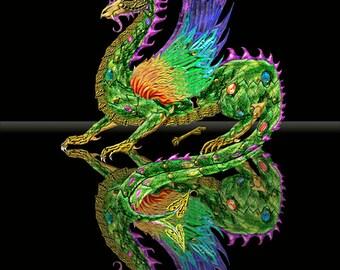 Steampunk dragon art. dragon. dragon print. dragon art print.dragon wall art. dragon decor. 16x20 unframed