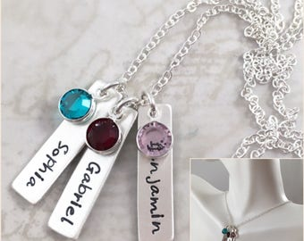 Vertical bar necklace, mother gift, personalized necklace, Mother's Day gift custom hand stamped, name necklace, personalized gift