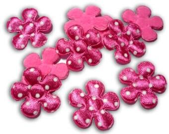 100 Pink Padded felt Polka flower fabric appliques trim - 23mm. - Wholesale Lot - Scrapbook Card Book Album