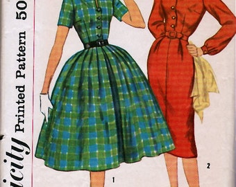 Bust 32-1950's Misses' One-Piece Dress With Two Skirts  Simplicity 2622  Size 12