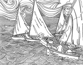 The Catboat Race Coloring Page, Adult Coloring Printable, Coloring Pages for Adults, Cayman Life + Art, Print PDF Download
