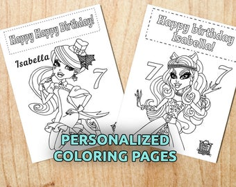 Monster High Birthday Coloring Pages Personalized Kids Holiday Printable