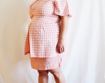 Plus Size - Vintage Pink Gingham Layered Sheath Dress (Size 16/18)