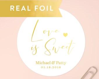 Love is Sweet Stickers, Wedding Favors, Wedding Favor Stickers, Custom Stickers, Wedding Labels, Gift Box Sticker, Wedding Favour, SET OF 20