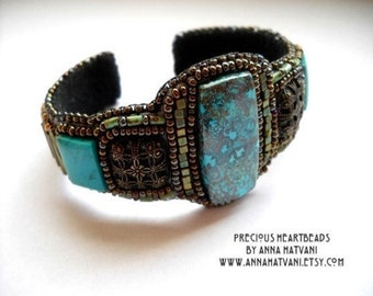 Bead Embroidery Kit (limited edition) - Bead Embroidery Bracelet Bead Embroidered Gold Teal Azurite Chrysocolla